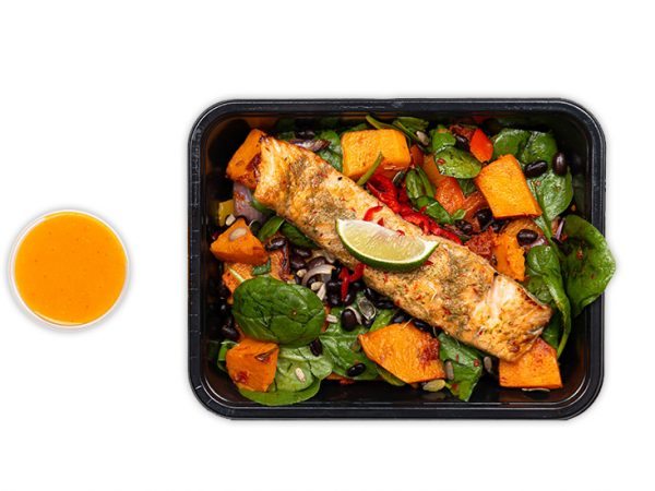 Jerk Salmon with roasted butternut and peppers