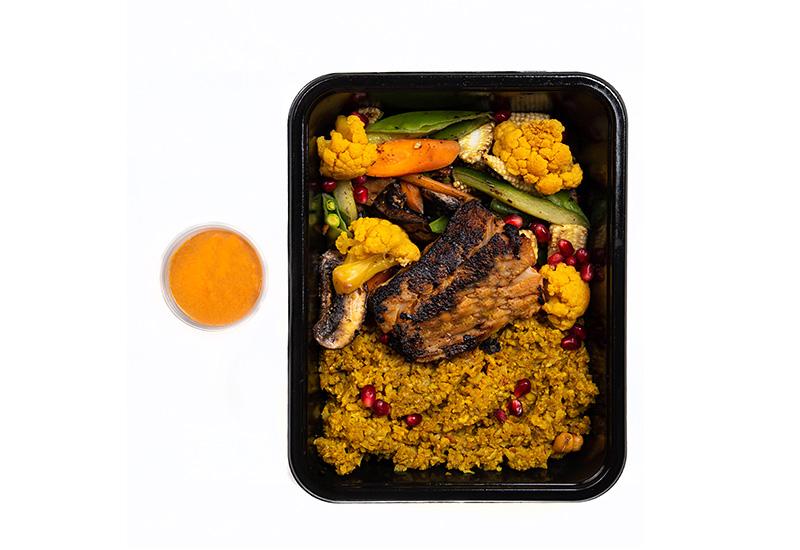 Miso glazed cod with rice & stir fry veggies