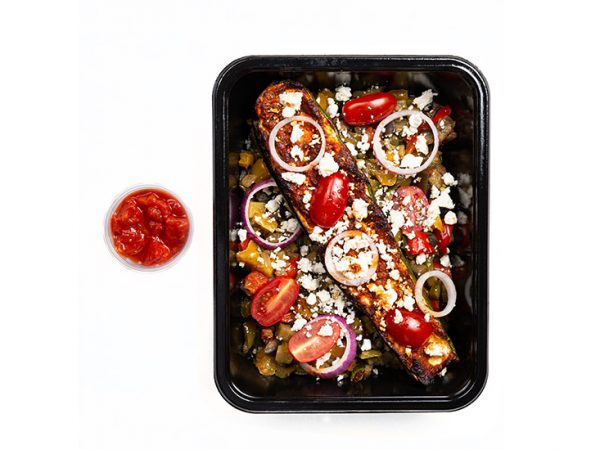 Zuchini capaonta Boat vegan risotto